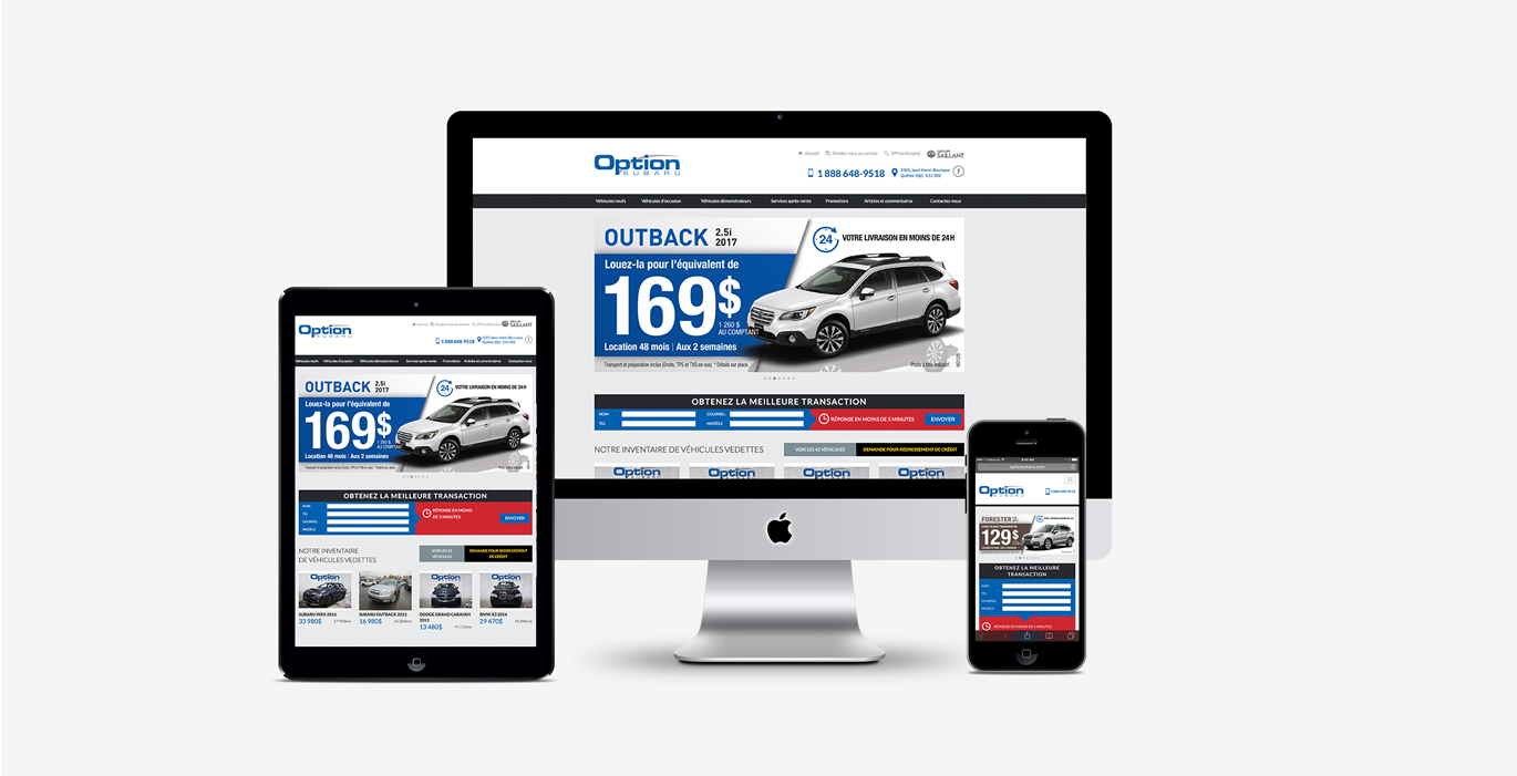 Site Web – Option Subaru - Empreinte Studio